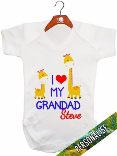 "I Love My Grandad /""PERSONALIZZATO/"" Baby Canotta//Baby grow//Baby Pagliaccetto"