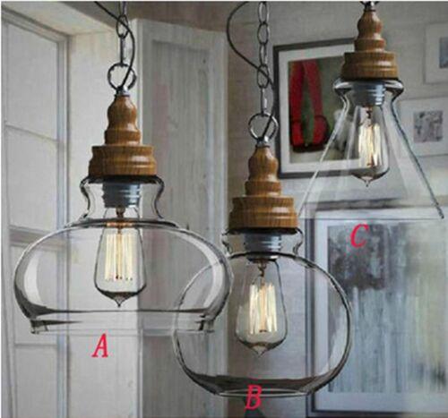 Modern Retro Scandinavian Wooden Style Vintage Pendant Lamp Glass Ceiling Light