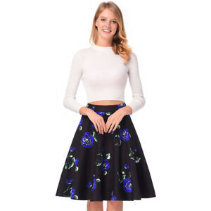 new styles b4b23 13cdd Dettagli su gonna lunga palloncino morbida elegante nero blu fiori vintage  evento G159