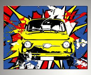 QUADRO-MODERNO-FIAT-500-POP-ART-ACTION-DIPINTO-ASTRATTO-A-MANO-gia-con-telaio