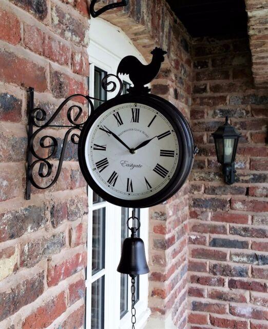 Coquelet Bell Extérieur Double Face Horloge de Jardin Mur Extérieur Support Station 32 cm