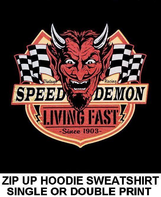 SPEED DEMON LIVING FAST DEVIL BIKER MOTORCYCLE RIDER ZIP HOODIE SWEATSHIRT 73