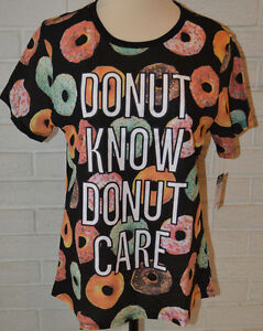 04bd1348ba1 Women s Freeze Donut Know Donut Care Black Tee T-Shirt Top Sizes S ...