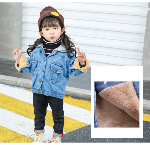 Kids Girls Jackets Denim Style Hooded Jean Jacket Coat Outwear Baby Overcoat