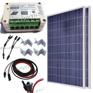 200w Complete Kit 2 100w Pv Solar Panel For 12v System Rv