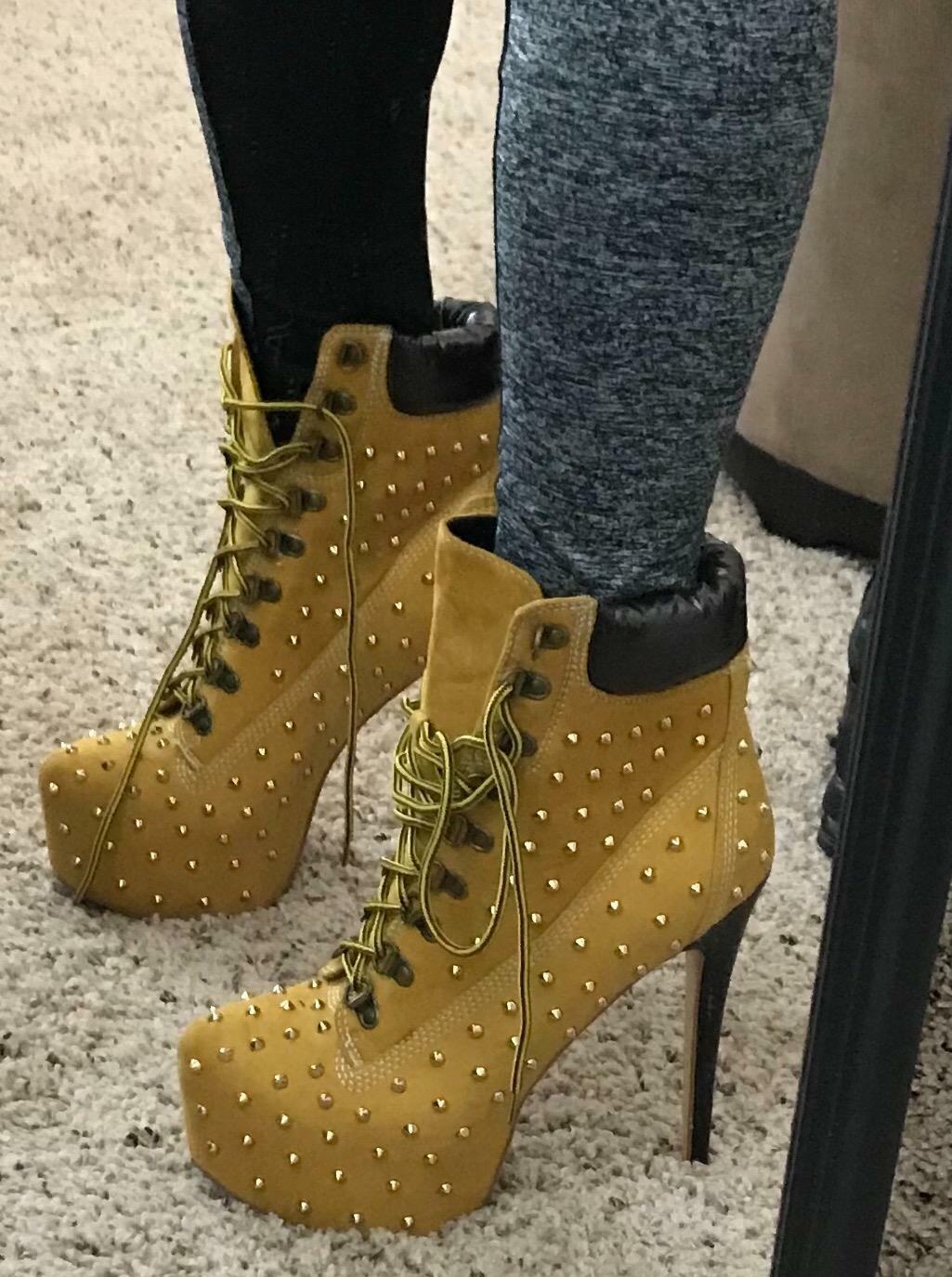 Onlymaker Women High Heel Rivet Studded Platform Pointed Toe Lace Up Ankle Boots