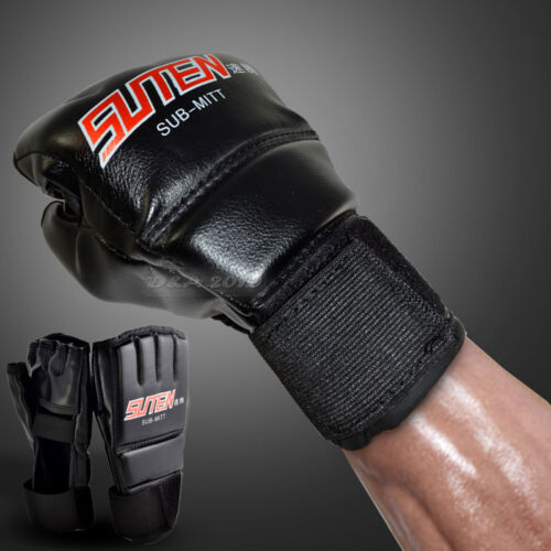 Black-red MMA Free Combat Muay Thai Half Mitts Punching Speed Boxing Gloves Hot