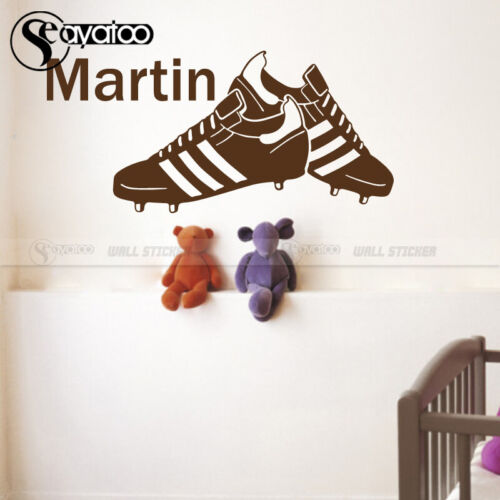 Soccer Football Shoes Customize Name Vinyl Wall Sticker Decal Boys Kids Bedroom