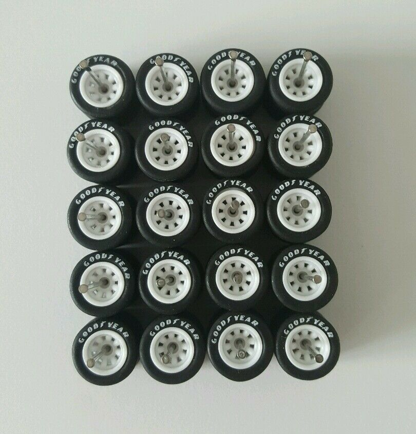 10 sets Watanabe 8sp White Goodyear long axle fit 1 64 hot wheels rubber tires