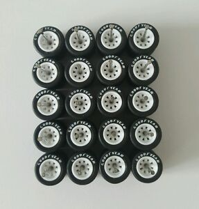10-sets-Watanabe-8sp-White-Goodyear-long-axle-fit-1-64-hot-wheels-rubber-tires