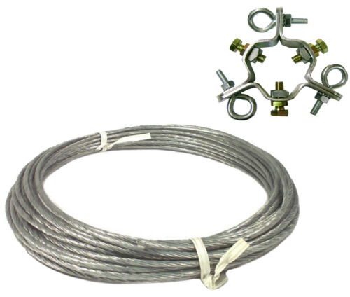 """100/' 6//20 Coated Guy Wire /& Guy Ring for Antenna Mast up to 2.25/"""" EZ 60 EZ 43-A"""