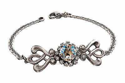 Boho Vintage Antique Silvertone Chaton Bracelet with Crystals from Swarovski