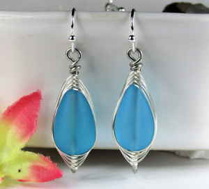 SEA-GLASS-Teardrop-Caribbean-Blue-Weave-Wire-SILVER-Dangle-Earrings-USA-HANDMADE