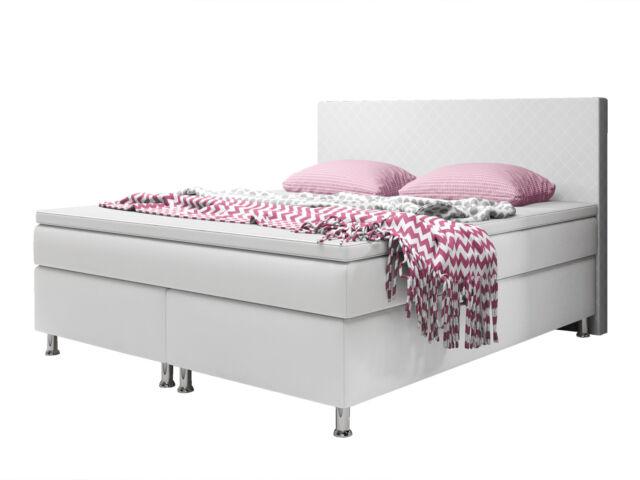 Boxspringbett Madrid Bett Hotelbett Designerbett 140x200 Cm Kunstleder Weiß