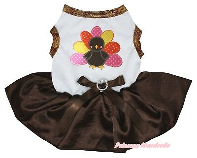 Rhinestone Thanksgiving Orange Cotton Top Brown Turkey Tutu Pet Dog Puppy Dress
