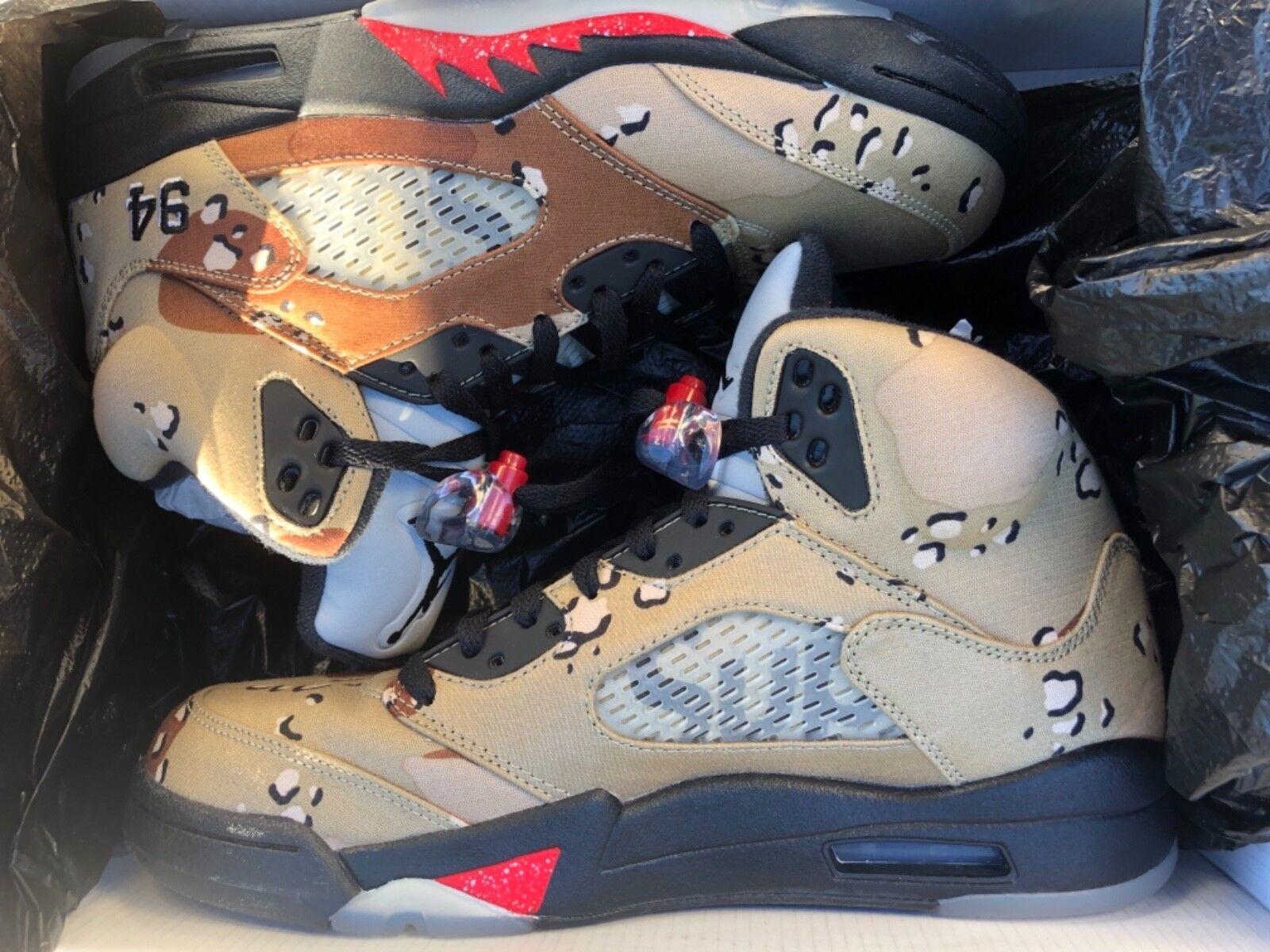 Air Jordan Retro 5 Supreme Desert Camo size 8.5
