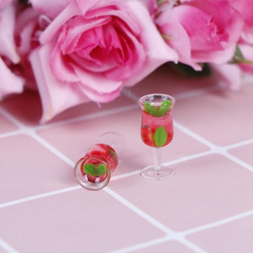 2Pcs 1:12 Dollhouse miniature resin cocktail cup simulation wine glass model  ^D