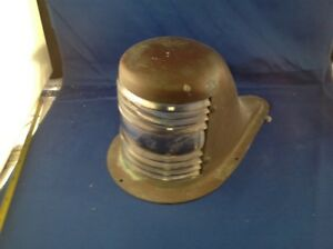 Stamped-Brass-Boat-Bow-Light-Clear-Glass-Lens-Not-Polished-not-wired-9-1-2-034