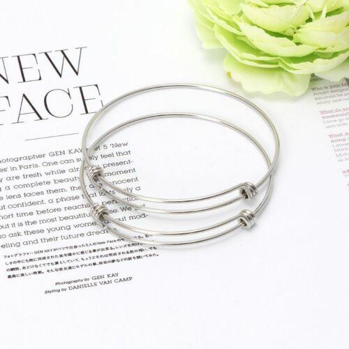 10Pcs Extensible Blanc bracelets fils en acier inoxydable bracelet À faire soi-même Jewelry Making