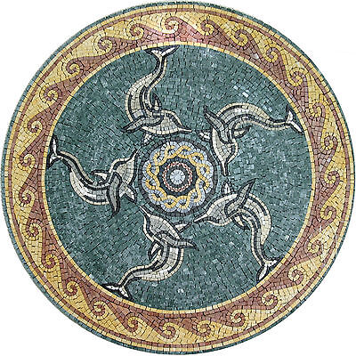 Nautical Ocean Deep Decor Round Medallion  Tile Marble Mosaic MD1021