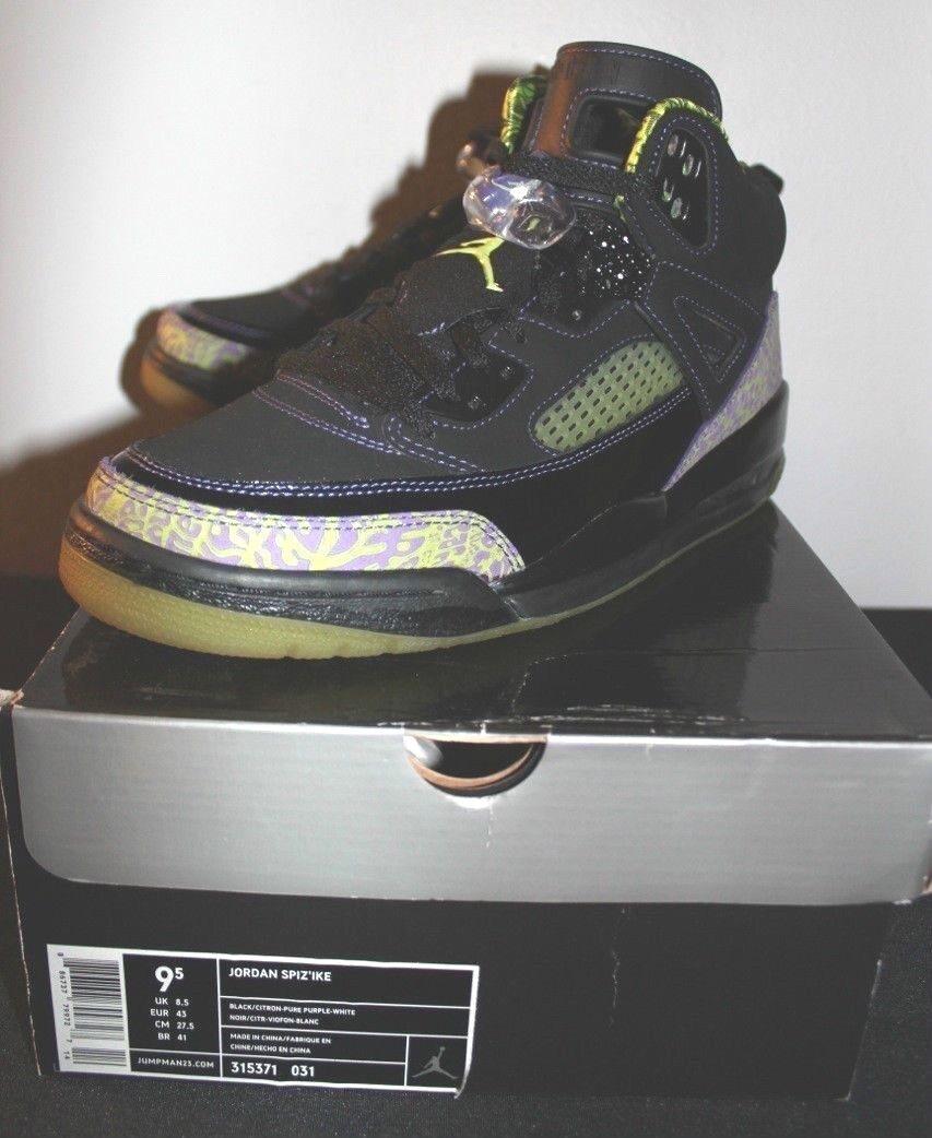 Air Jordan Retro Spizike Black Citron Purple White Sneakers Men's Size 9.5 Used