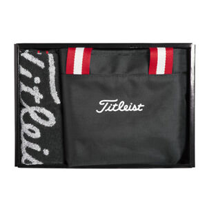 Titleist-Japan-Golf-JAPAN-Round-Pouch-Tote-Bag-Towel-Set-Gift-Box-AJGF93-Black