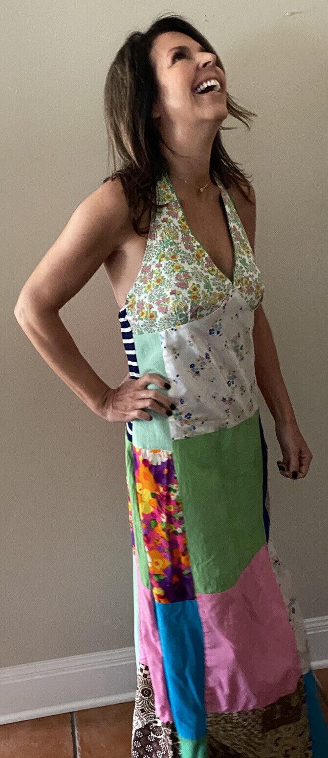Vintage Handmade 60s Floral Patchwork Quilt Dress… - image 3
