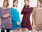 EASEL Womens Soft Knit Ruffle Trim Loose Flowy Long Sleeve Tunic Top Dress Boho