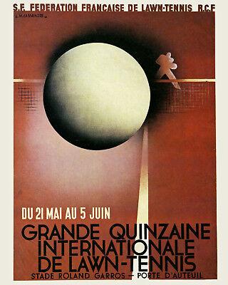 1932 Roland Garros Tennis Tournament Ad Poster