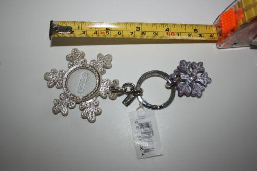 NEW NWT COACH Keychain Silver Snowflake Frame /& Lavender Flake w// Crystal 93016