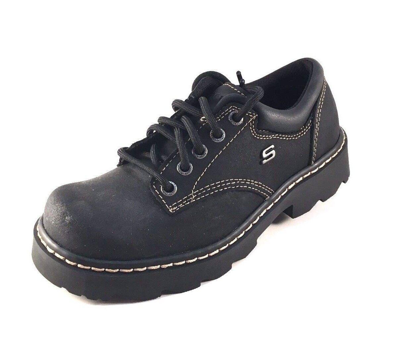 Skechers 45120 BKS Black Leather Lace Up shoes