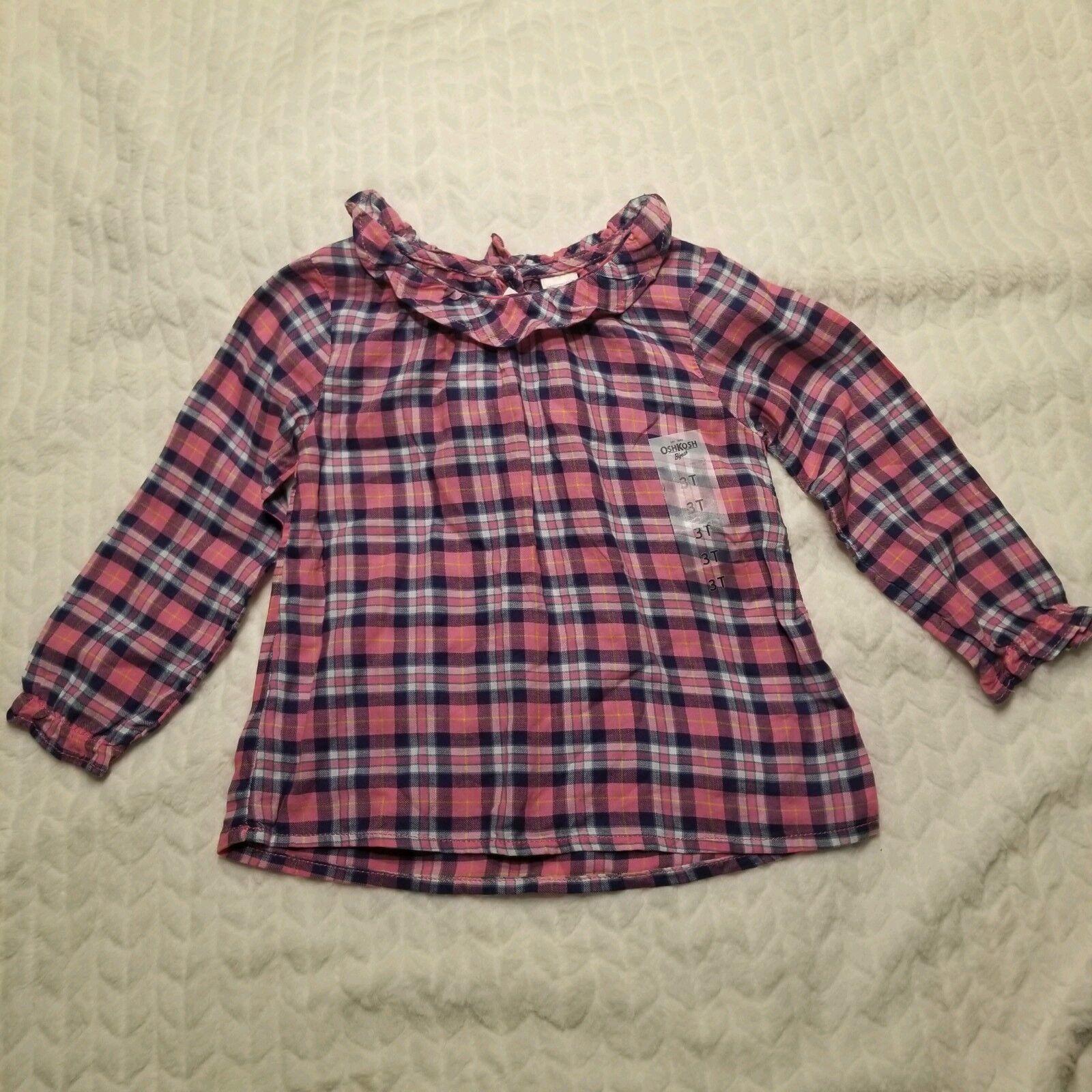 NWT ruffle top OshKosh B/'Gosh Infant Girls Navy and Pink Plaid Bodysuit