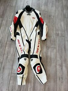 Rev-039-it-White-Red-Black-Leather-Racing-Team-Gear-Suit-TT-Model-54-Original-Liner