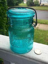"Fancy Light ""teal"" Fruit Jar Lots Of Decorative Embossing Pint Size"