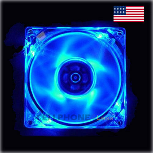 Blue 80mm Computer PC Clear Case Cooling Fan With LED