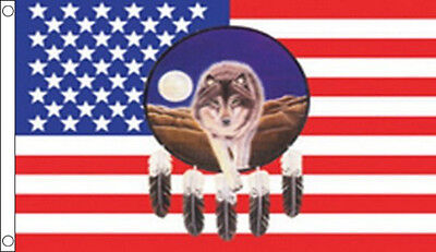 USA FEATHER & WOLF DREAMCATCHER FLAG 5' x 3' US Line Dancing America American
