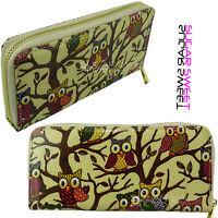 Ladies Cream Beige Owl Tree Print Designer Zip Oilcloth Purse Wallet Clutch Bag