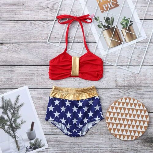 Kid Girls Wonder woman Summer Swimming Bikini Swimsuit Swimwear Two Pieces Set