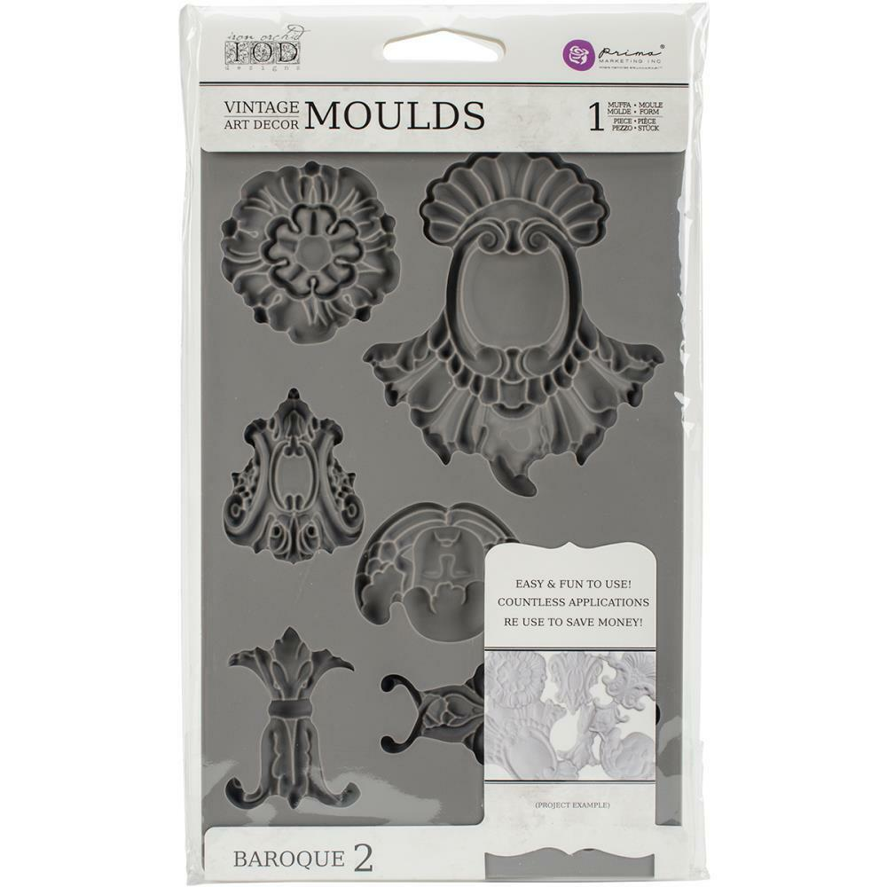 Prima Marketing 814786 Baroque No.2 Iron Orchid Designs Vintage Art Decor Mold Grey