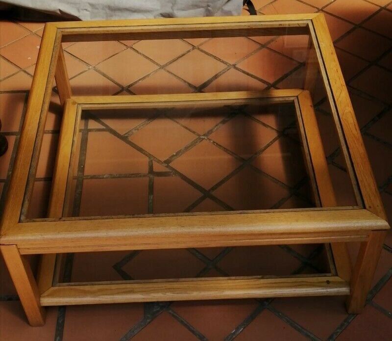 Coffee table Double glass 1m x 1m