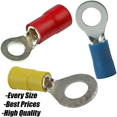 RED BLUE YELLOW 6.4mm Heat Shrink Ring Hoop Terminals Electrical Wire Connector