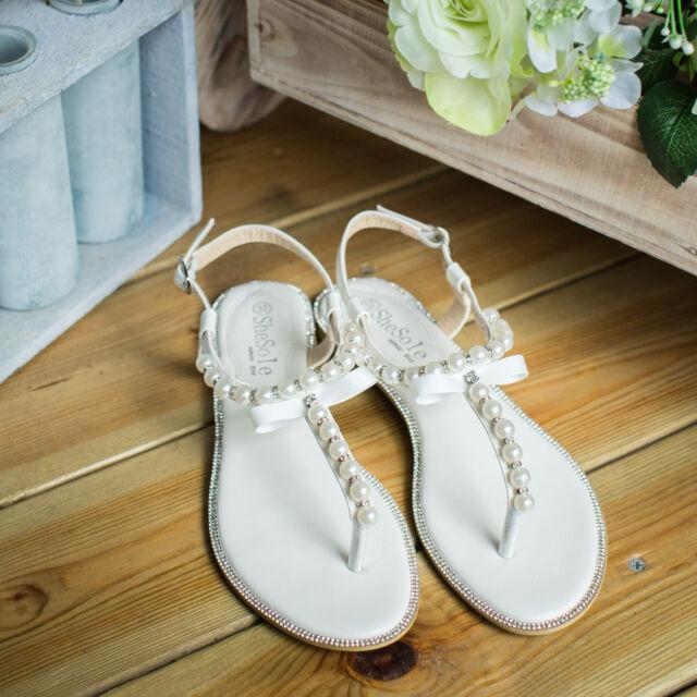 171a9dc07aa82 UK FREE SHIP SheSole Ladies Beach White Wedding Shoes Flat Sandals UK Size 5