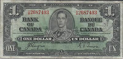Coins & Paper Money Canada $1 2.1.1937 Prefix Y/m Circulated Banknote