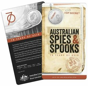 2019-70th-Anniversary-ASIO-50c-UNC-RAM-Mint-Coin-on-Card-SPIES-amp-SPOOKS-New