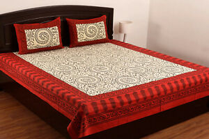 Cotton-Floral-Print-Double-Bed-Sheet-amp-Duvet-Cover-With-4-Pillow-Covers-Red-sk