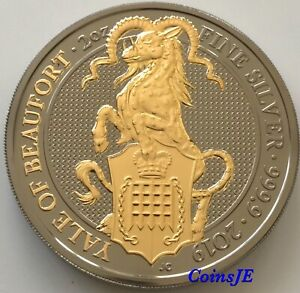 2019-Queen-039-s-Beasts-The-Yale-of-Beaufort-2oz-999-9-Gold-Gilded-Silver-Ruthenium