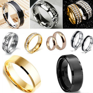 Fashion-Jewelry-Titanium-Band-Stainless-Steel-Ring-For-Men-Women-Size-6-12