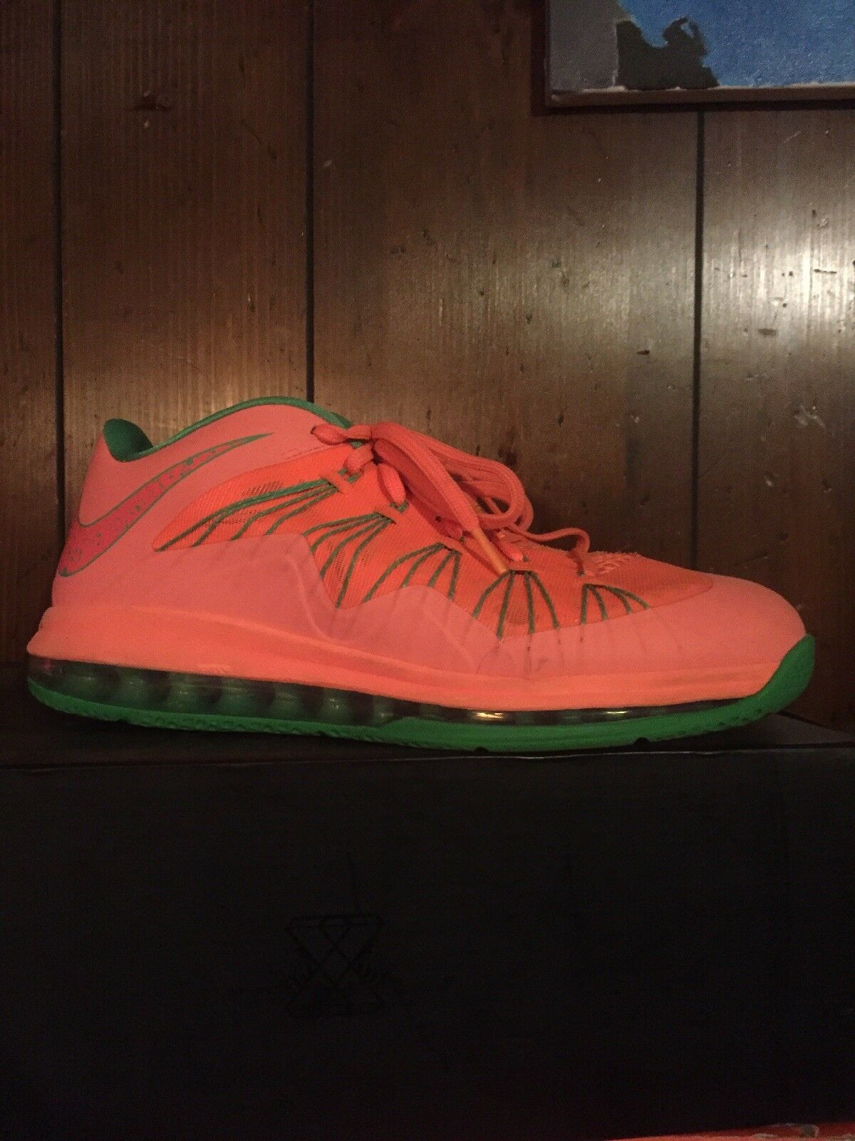 Nike Air Max Lebron X Low Size 11 Watermelon Basketball Shoes And Box GUC