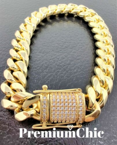 14MM COMBO SET Miami Cuban Link Chain Diamond Clasp Gold Plated Stainless Steel