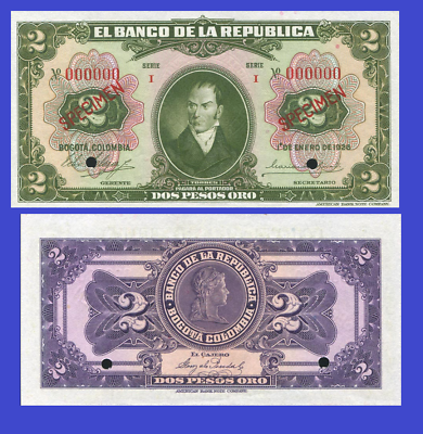 Colombia 2 pesos 1899 UNC Reproduction